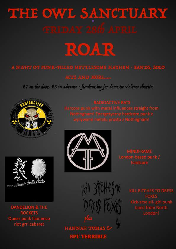 ROAR w/ RADIOACTIVE RATS, MINDFRAME, KILL BITCHES TO DRESS FOXES & DANDELION & THE ROCKETS